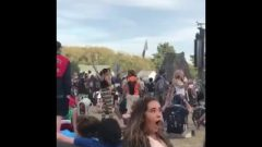 Naughty Girl Gets Her Butt Ate In Public By Two Guys (Music Festival)