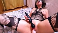 Sexy Wife In Mesh Clothes Raw Fists And Play Fanny Inflatable Dildo