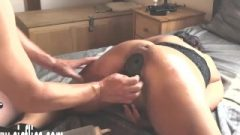 Fists Her Fanny With A Giant Bum Plug Inside