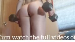 Fitness Darling Nude Home Workouts With Ass-Hole Plug And Bouncing On Balls